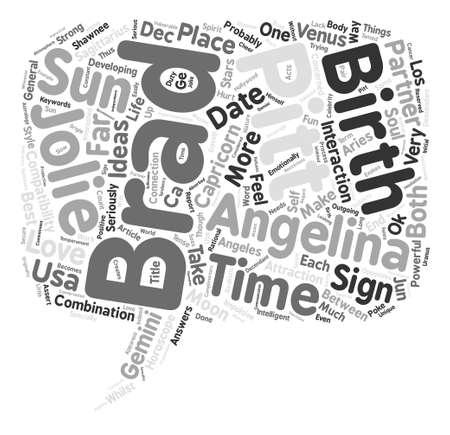 Brad Pitt Angelina Jolie love Horoscopes Report text background word cloud concept