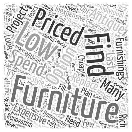 reside: low priced furniture Word Cloud Concept Illustration