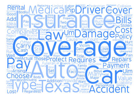Auto Insurance Texas Word Cloud Concept Text Background
