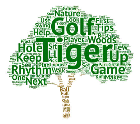A Few Golf Tips From Tiger Woods Word Cloud Concept Text Background Illustration
