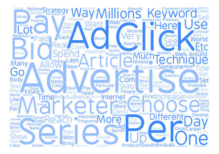 millions: Advertise to millions Pay Per Click advertisement text background word cloud concept Illustration