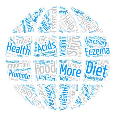 Een gezond dieet kan helpen bij het ophelderen van uw eczeem tekst achtergrond word cloud concept Stock Illustratie