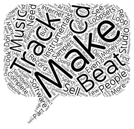 Make Your Own Beats Instrumentals Tracks and Demo CDs text background wordcloud concept