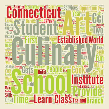 Arts Culinary School In Connecticut Word Cloud Concept Text Background