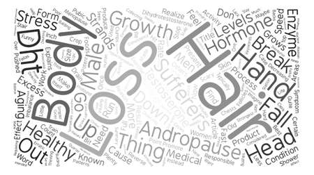 andropause: Andropause and Hair Loss text background word cloud concept