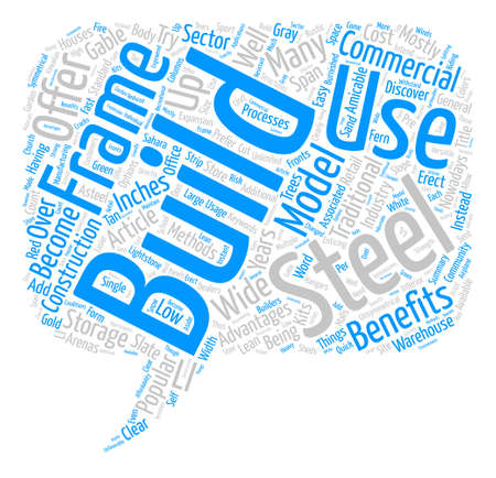 Benefits Of Steel Buildings text background word cloud concept