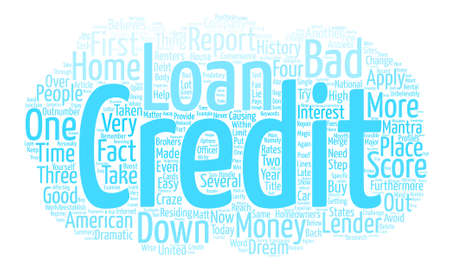 Bad Credit No Money Down Loans Help Within Reach Word Cloud Concept Text Background 向量圖像