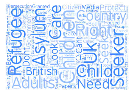 Asylum Seeker And Refugee Children Word Cloud Concept Text Background Illustration