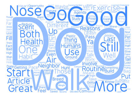 A Walk With Your Dog text background word cloud concept Illustration