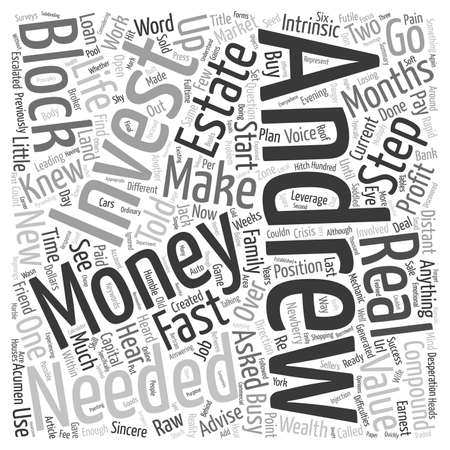 knew: Make Money Fast With No Investment how Andrew Made In Months text background wordcloud concept