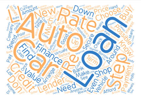 make summary: Auto Loans In Steps text background word cloud concept