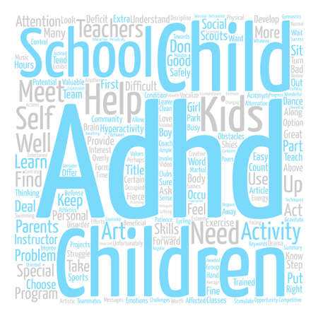 after school: Adhd After School Word Cloud Concept Text Background Illustration
