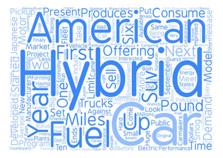 dominance: american hybrid cars text background word cloud concept Illustration