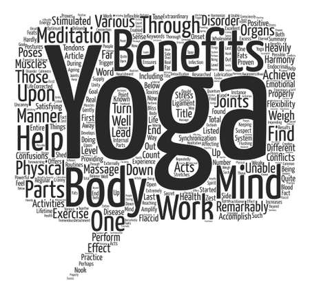 accomplish: Benefits of Yoga text background word cloud concept