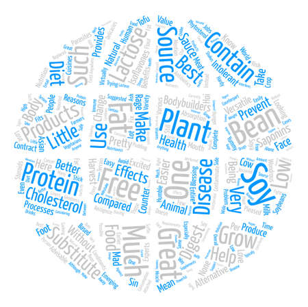 benefits of soy protein Word Cloud Concept Text Background