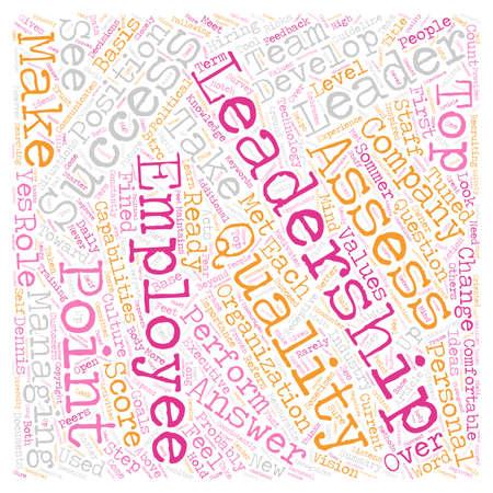 Kwaliteiten om te zoeken in een Leader tekst achtergrond wordcloud concept