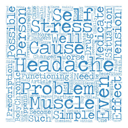 A Simple Case Of Chronic Headaches Word Cloud Concept Text Background Çizim