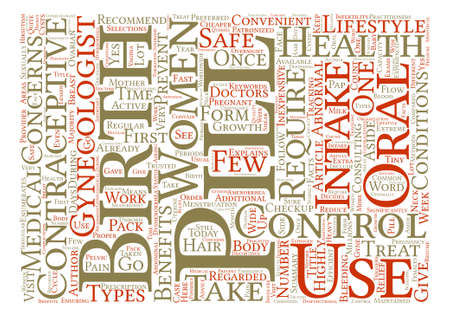 Birth Control Pill Health Benefits and Lifestyle Concerns Word Cloud Concept Text Background