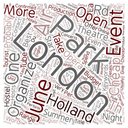London open air events in june text background wordcloud concept