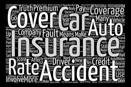 自動車保険神話あなたの知っておくべきテキスト背景単語雲概念