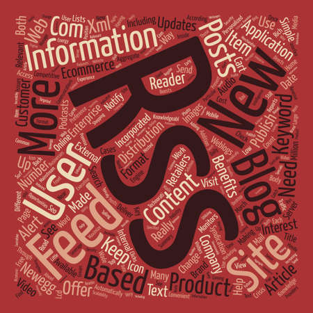 really simple syndication: Benefits Of Rss In Ecommerce text background word cloud concept