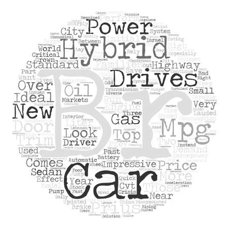 br: A Quick Look On Hybrid Cars text background word cloud concept