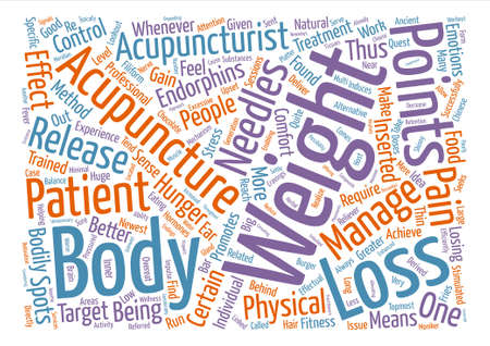 Acupuncture for Effective Weight Loss Word Cloud Concept Text Background Illustration