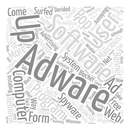 Adware tale of the computer hijackers text background word cloud concept