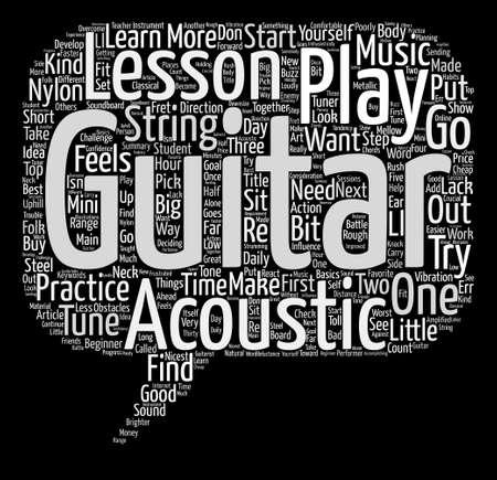 Acoustic Guitar Lessons text background word cloud concept