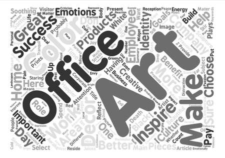 happier: Art For The Successful Office Word Cloud Concept Text Background