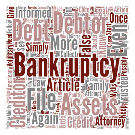 Bankruptcy Myths Busted text background word cloud concept
