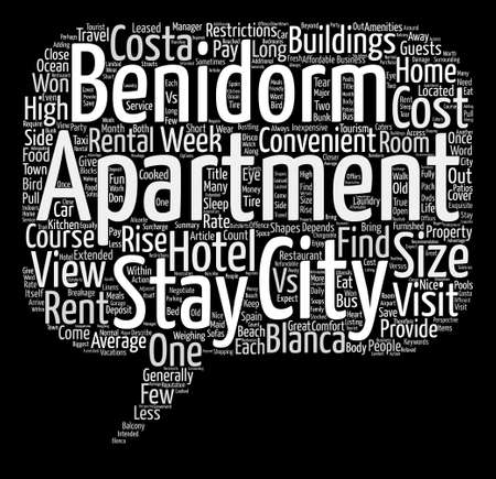 Benidorm Apartments Your Home Away From Home text background word cloud concept Illustration