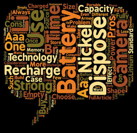 right choice: Pros and Cons of Battery Technologies Used in Cameras Choose the Right One for You text background wordcloud concept Illustration