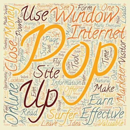 강력하고 효과적인 팝업 창을 사용하여 돈을 버는 온라인 텍스트 배경 wordcloud 개념