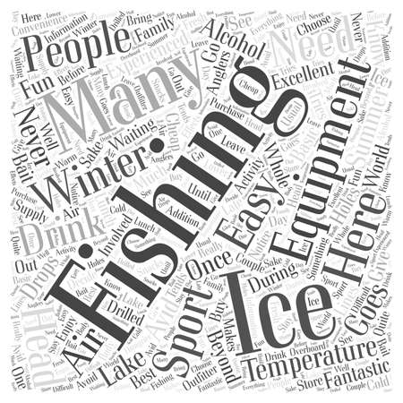 preparing for ice fishing Word Cloud Concept Vettoriali