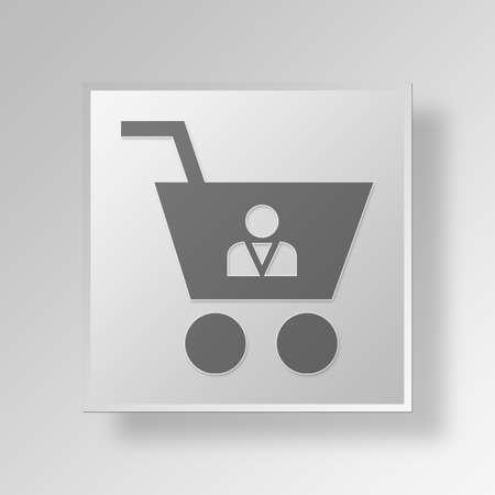 shopper: shopper Button Icon Concept No.11885 Stock Photo