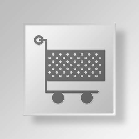 wheel spin: Shopping Cart Button Icon Concept No.10542