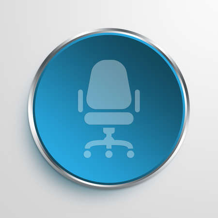 office furniture: Blue Sign Chair Symbol icon Business Concept No.1296 Stock Photo