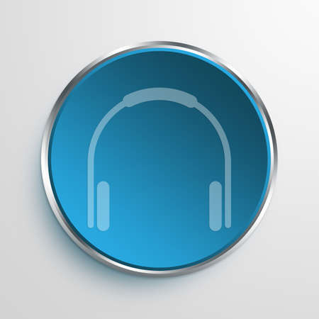 amplify: Blue Sign Headphone Symbol icon Business Concept No.12637