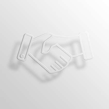 throb: Handshake 3D Paper Icon Symbol Business Concept No.11185 Stock Photo