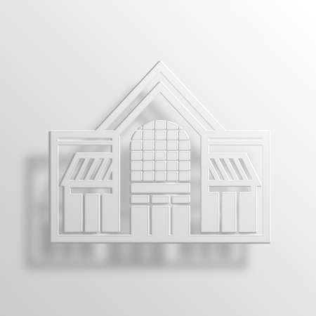awnings windows: shopping mall 3D Paper Icon Symbol Business Concept No.10447