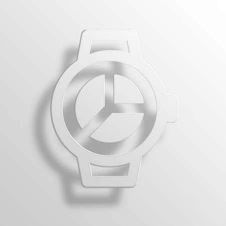 smartwatch pie chart 3D Paper Icon Symbol Business Concept No.6606