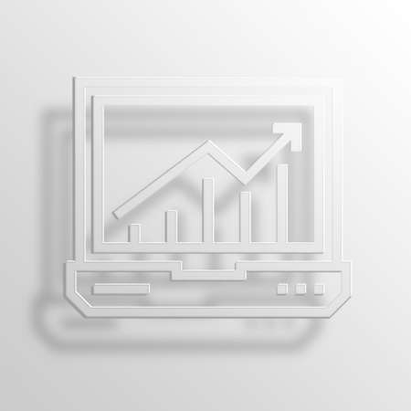 throb: Online graph 3D Paper Icon Stock Photo