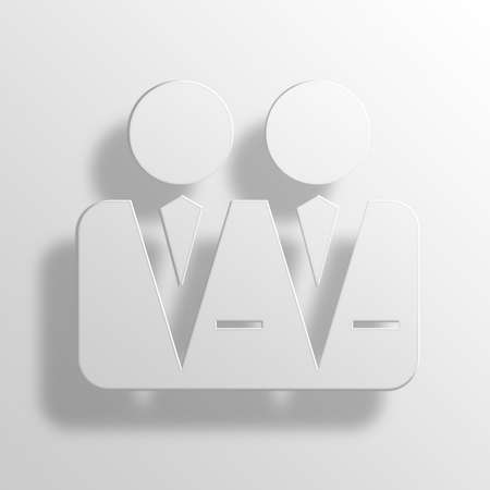 franchising: Businesspeople 3D Paper Icon Symbol Business Concept No.12855