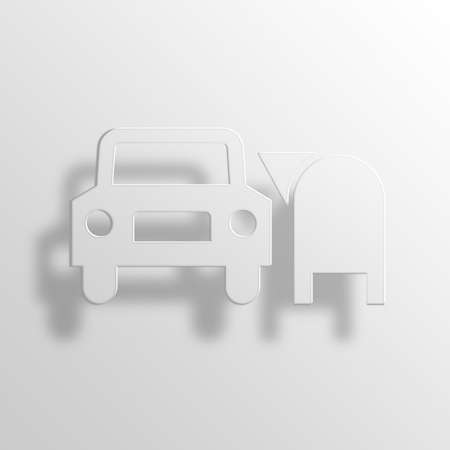 remit: drive-through 3D Paper Icon Symbol Business Concept No.12738