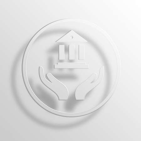 banking 3D Paper Icon Symbol Business Concept No.9432