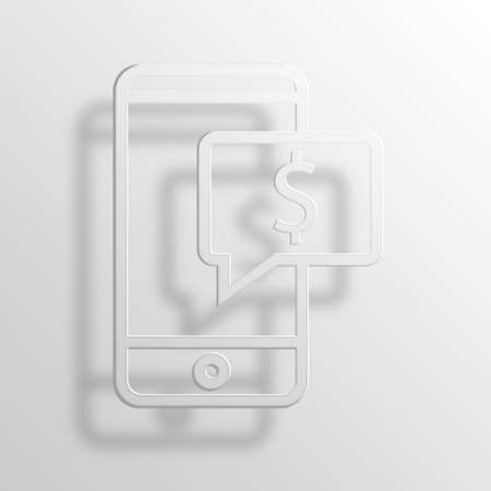 paypal: Text Money 3D Paper Icon Symbol Business Concept No.10545 Stock Photo