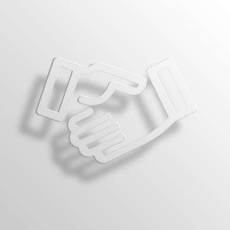 megapixel: Handshake 3D Paper Icon Symbol Business Concept No.9646 Stock Photo