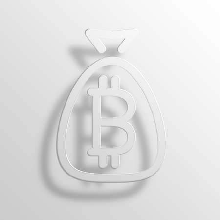 moneybag: Bitcoin Bag 3D Paper Icon Symbol Business Concept No.14299