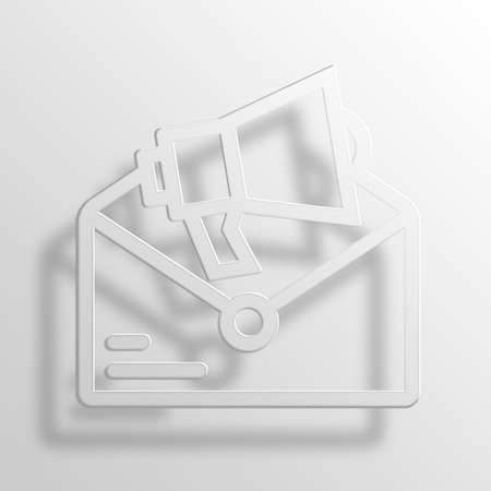 Email Marketing 3D Paper Icon Symbol Business Concept No.9585